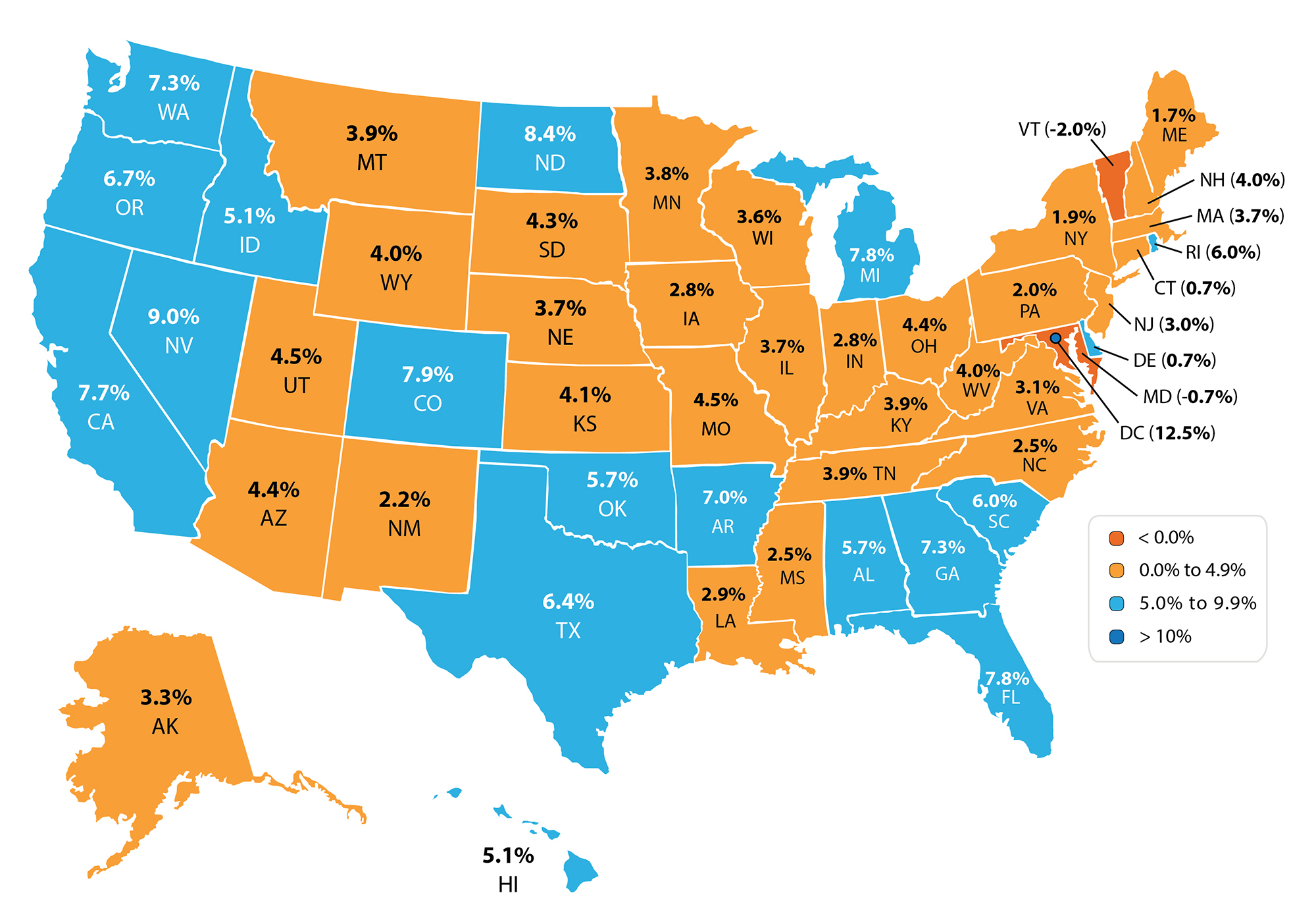 FHFA State Map Q4 2014