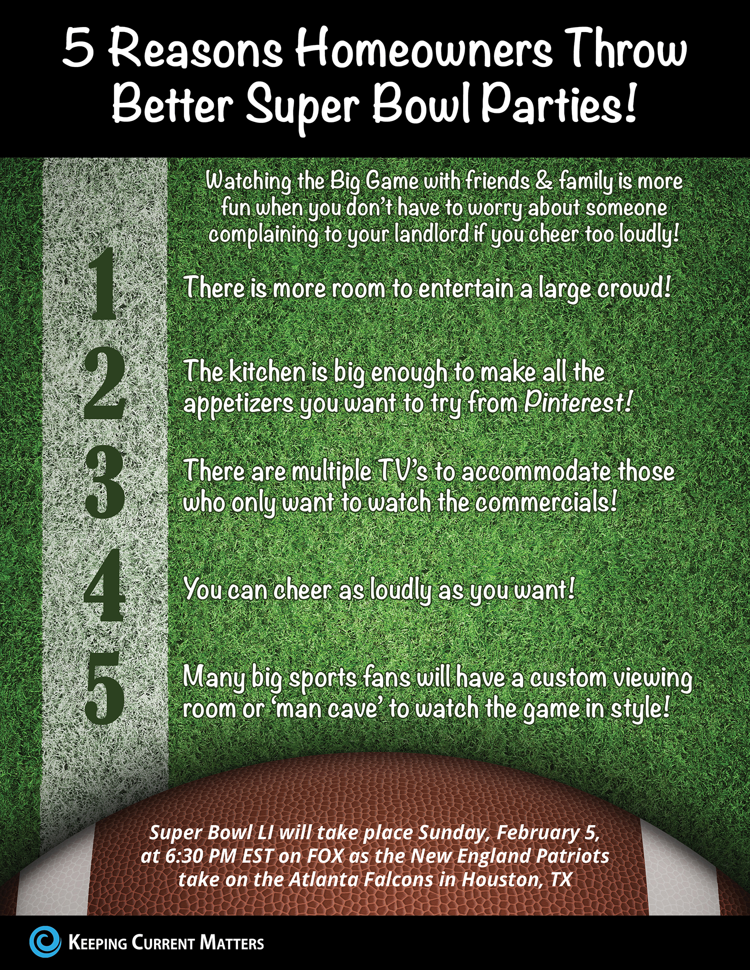 5 Reasons Homeowners Throw Better Super Bowl Parties! [INFOGRAPHIC]   Keeping Current Matters