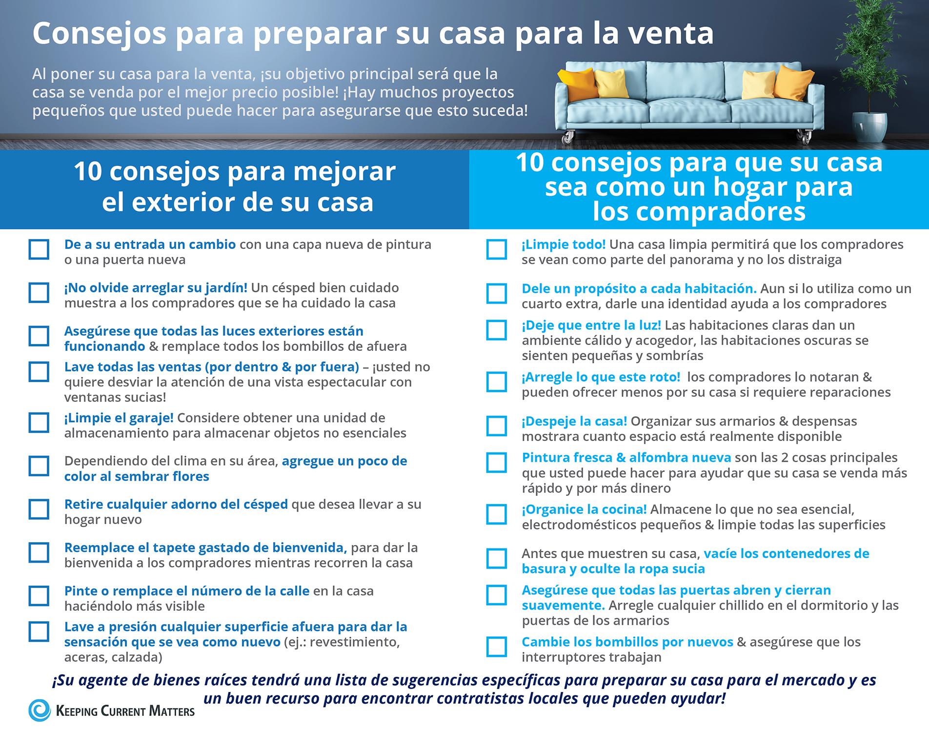 20 consejos para preparar su casa para la venta [infografía] | Keeping Current Matters