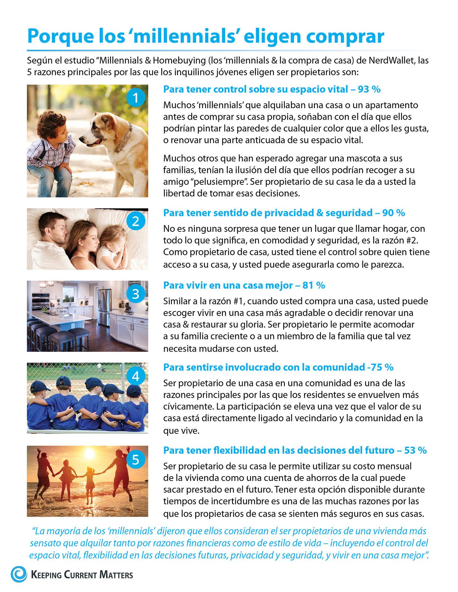 5 razones por las que los 'millennials' eligen comprar una casa [infografía] | Keeping Current Matters