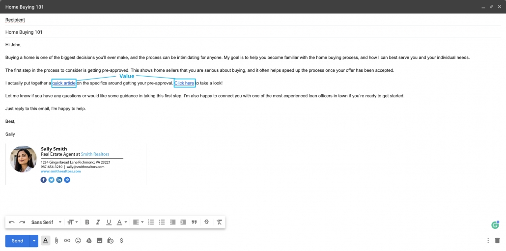 Good lead emails provide value and educate the consumer.