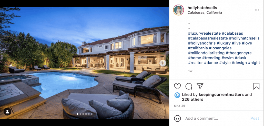 Hashtags for real estate agents Instagram
