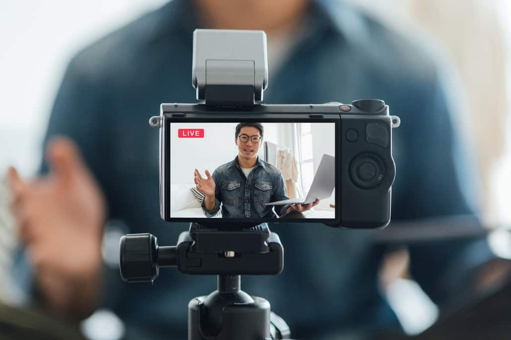 Real estate agent making video for his clients