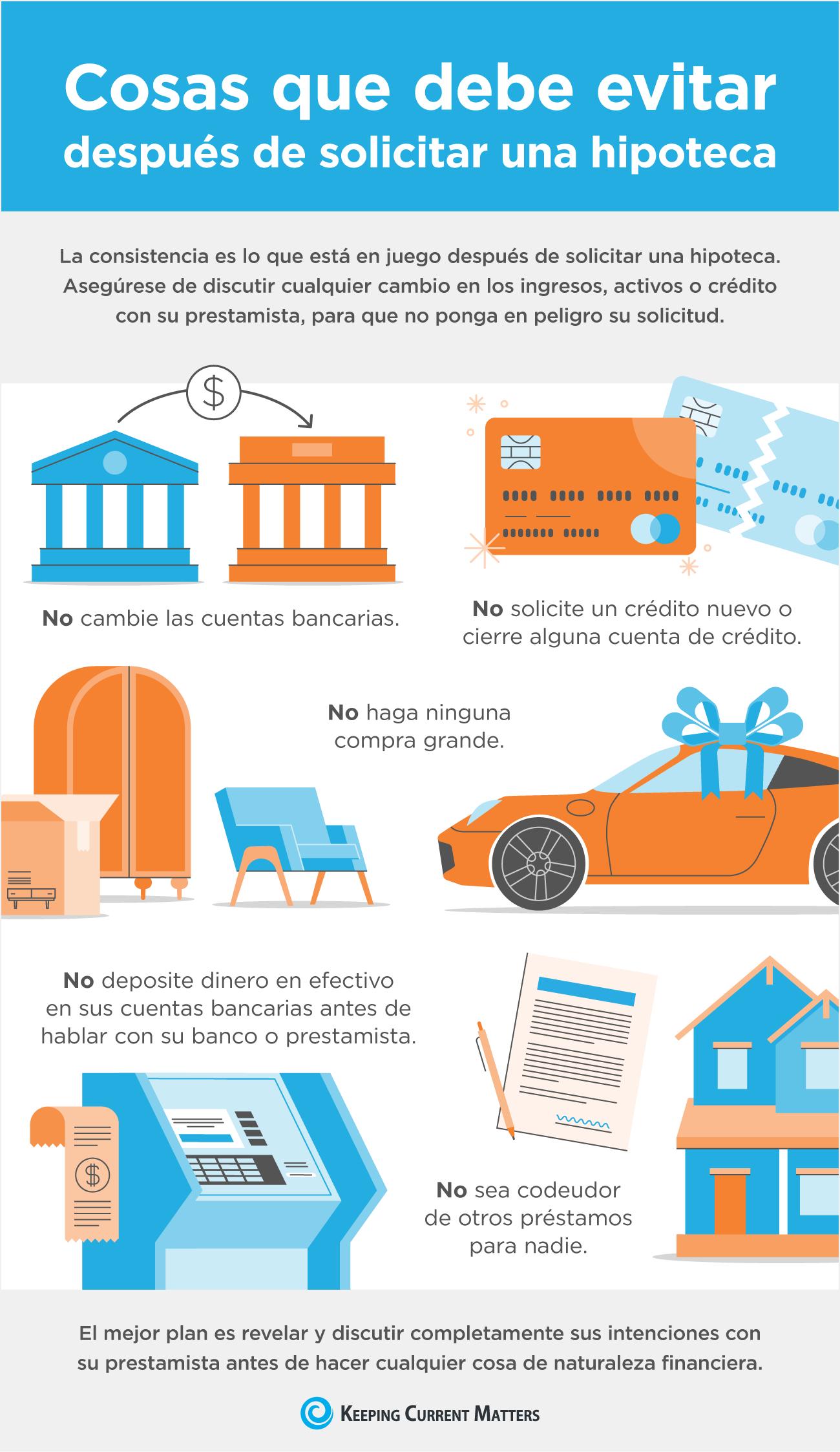 Cosas que debe evitar después de solicitar una hipoteca [infografía] | Keeping Current Matters