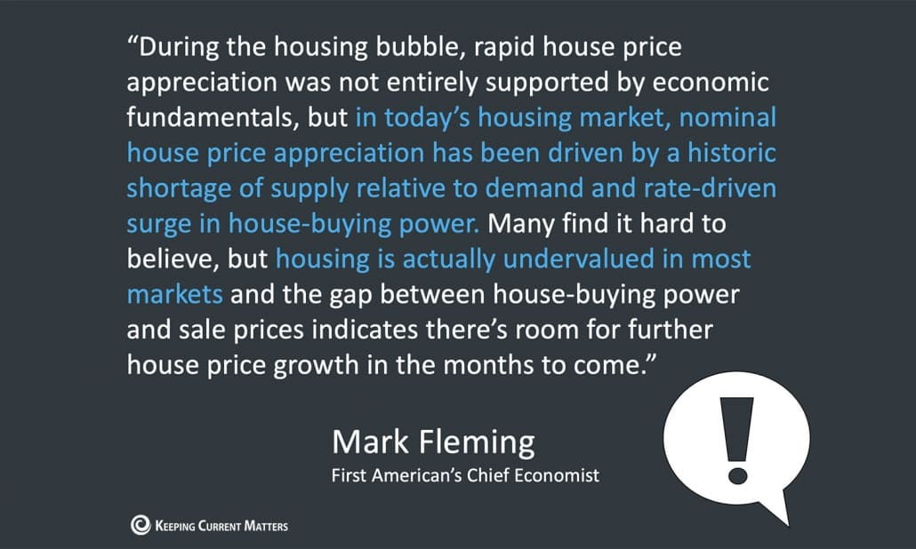 Mark Fleming Quote on Price Appreciation 2021