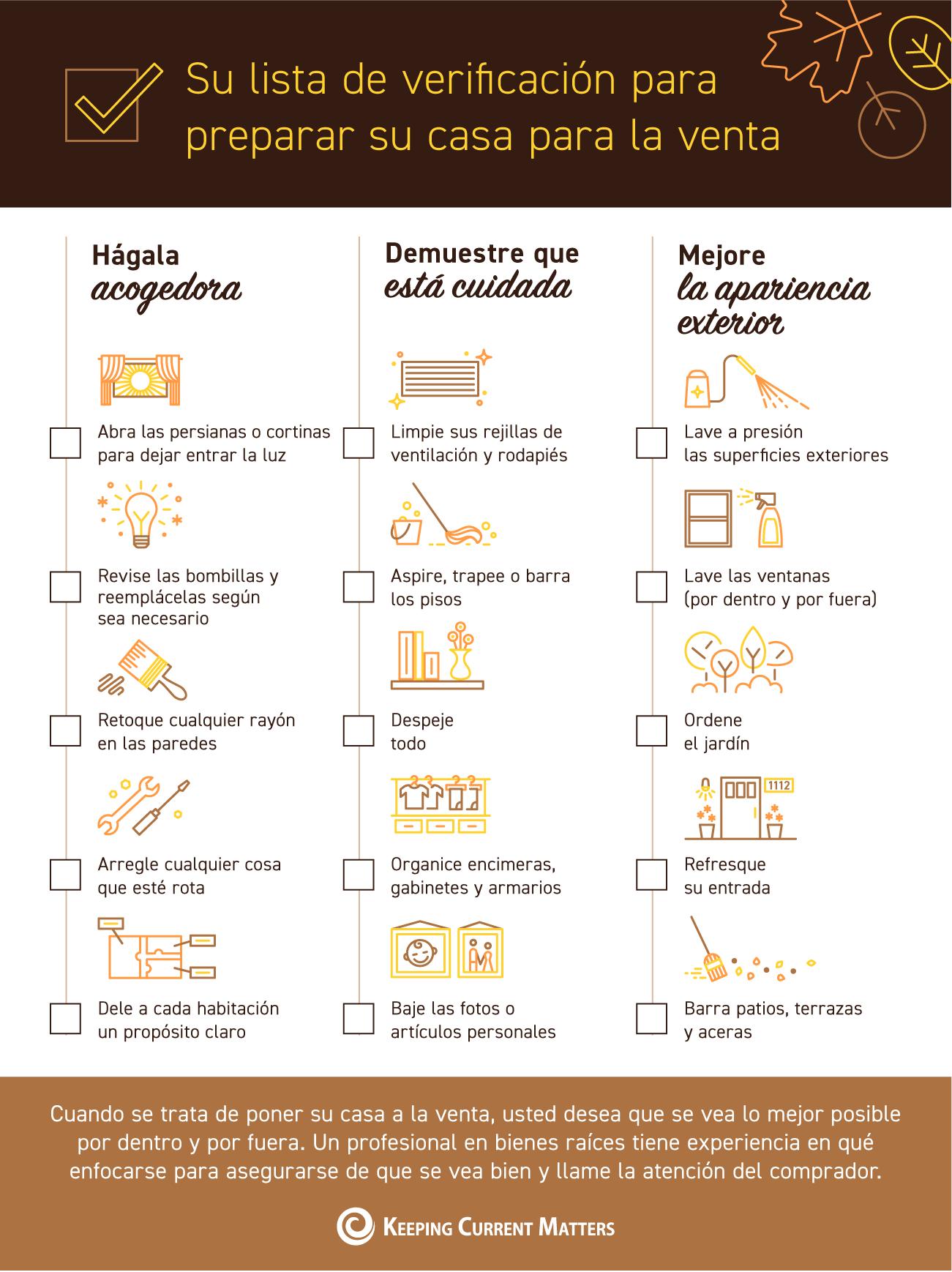 Su lista de verificación para prepararse para la venta [infografía] | Keeping Current Matters